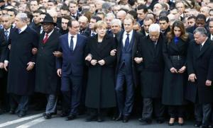 World leaders march in unity in Paris following terrorist attack on satirical magazine offices of Charlie Hebdo.