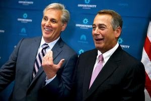 House Speaker John Boehner on right; House Majority Leader Kevin McCarthy on left.