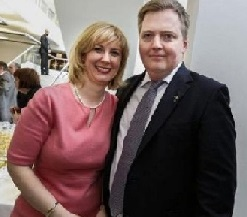 Iceland's Prime Minister Sigmundor David Gunnlaugsson and his wife Anna Sigorlaug Palsdottir
