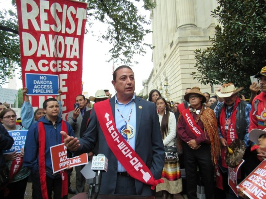 Standing Rock Sioux tribal chairman Dave Archembault stands outside a federal courthouse in Washington DC October 5th,
