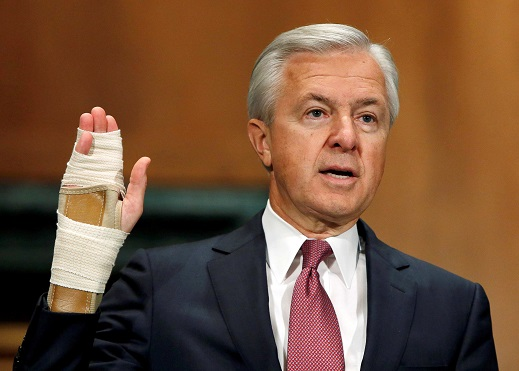 Wells Fargo CEO John Stumpf testifies before the Congressional House Financial Services Committee on September 29th. He resigned from the bank on October 12th in the wake of his company's fraudulent financial schemes scandal.