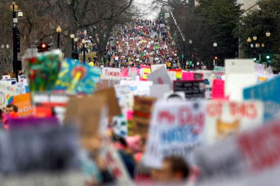 The Women's March spills into Third Street in Washington, DC, January 21, 2017, the day after President Donald Trump's inauguration.